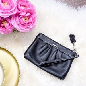 Coach Black Ruched Nappa Leather Wristlet